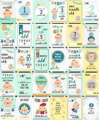 Baby Boy Moments and Milestones Cards - Set of 30.