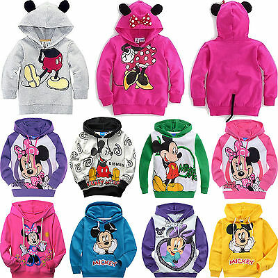 Mickey Minnie Mouse Kids Boys Girls Cotton Hoodies Unisex Clothes Outerwear 1-9Y