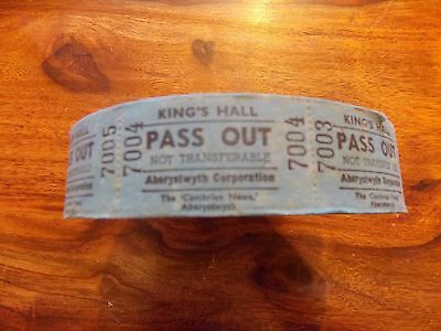 Aberystwyth Kings Hall roll of 1000 Pass tickets VERY RARE