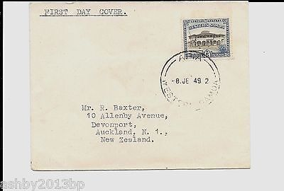 WESTERN SOMOA 1949 5d APIA POST OFFICE PLAIN FDC USED TO NEW ZEALAND