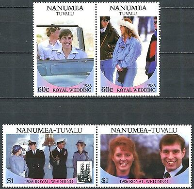 NANUMEA TUVALU 1986 Royal Wedding Complete Set in Pairs Mint MNH