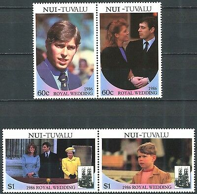 NUI TUVALU 1986 Royal Wedding Complete Set in Pairs Mint MNH