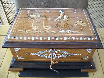 Large Indian Rosewood Inlaid Box/Casket - Girl With Geese