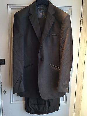 Men's Ted Baker Two Tone Chocolate 1950's Style Slim Tonic Suit, 38 Regular.