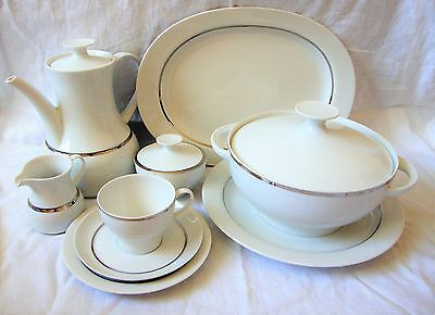 Thomas Germany Fine China Dinner & Tea Wares - Crisp White Silver Banding