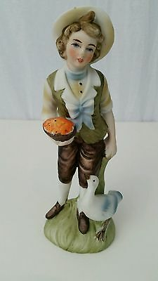 """LEFTON CHINA Handpainted Figurine 8"""" Country Boy with Goose #6988"""