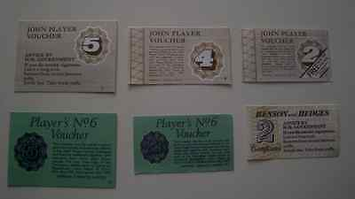 Vintage English Cigarette Coupons ; 6 different ; voucher tobacco collector