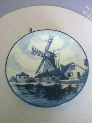 Delft Holland hand painted picture of windmill small plate