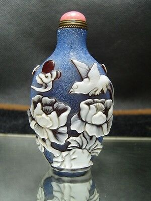 Exquisite Chinese  Peking glass hand carved snuff bottle    4