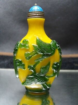 Exquisite Chinese  Peking glass hand carved snuff bottle    5
