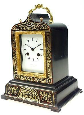 19THC Antique French 8 Day Original Offices Boulle Carriage Mantel Clock A Paris