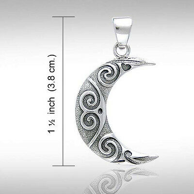Sterling Silver Crescent Moon Pendant~ Peter Stone~ Wicca Sacred Spiral Handmade