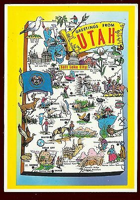 (47020) Picture Map. Greetings from Utah. Plastichrome Postcard