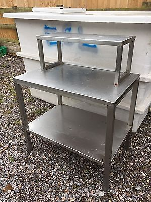 Stainless Steel Catering Table With Under Shelf & Fixed Top Shelf