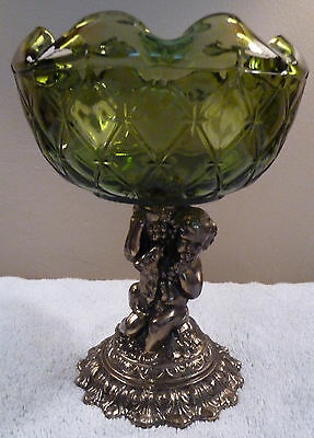 Hollywood Regency quilted green glass bowl or compote with brass cherub pedestal