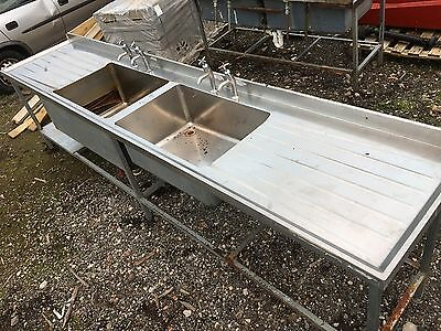 Commercial Catering Stainless Steel Double Bowl Kitchen Sink (10ft approx)
