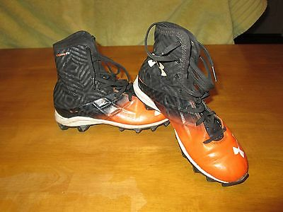 Under Armour Highlight Orange/Black Youth Kids Size 5Y Football Cleats FREE SHIP