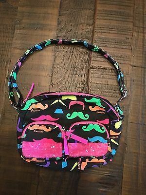 NWOT Justice Purse, Black With Mustaches.  So Nice!  Great Condition!
