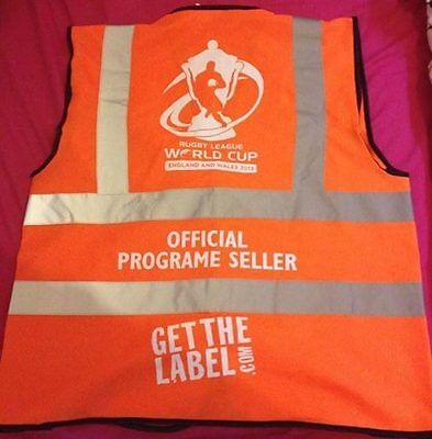 Official Rugby League World Cup 2013 Programme Sellers Hi Vis XL
