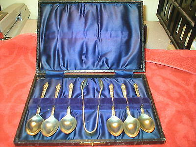 VINTAGE Figural Spoon Set with Tongs and Case