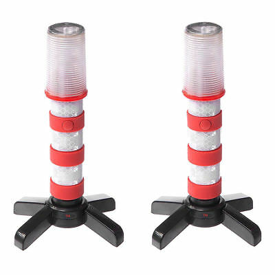 LED Flashing Roadside Emergency Beacon Flares-Two RED Flares with Solid Storage