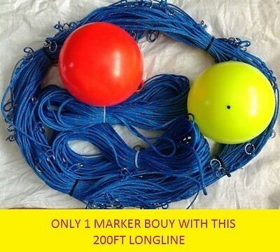 200ft  long-line +1 Drop-line 100ft & 1 Marker Buoy with 30 Clip on Hooks Size 2