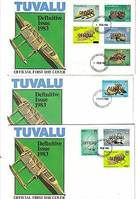 Tuvalu 1983  3 FDC's Definitive Issue ovpt OFFICIAL - complete set of 15 stamps