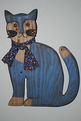 Wood Cat Wall Hanging. Signed by Artist.