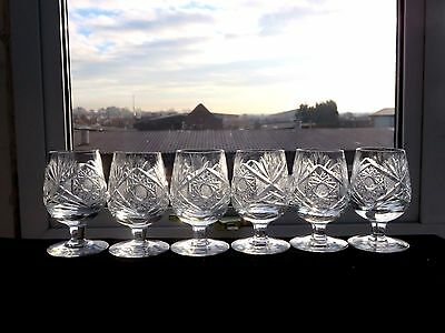 Bohemian Cut Glass Crystal Sherry Glasses With Pinwheel Pattern Set Of 6