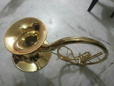 """Double Bell Sousaphone 22"""" Made of Gold Lacquer Brass With Mouth Pc & Case Box"""
