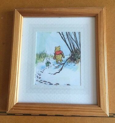 Winnie The Pooh & Piglet Print In a Light Colour Varnished Wooden Frame. FP234.