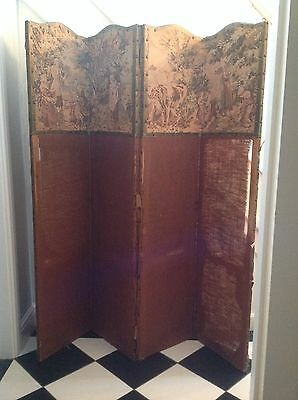 Antique Room Divider Room Screen. Wooden with fabric. Tall. 4 panels. Original.