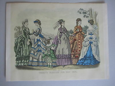 Godey's Fashions May 1870 Old American Lithograph NY