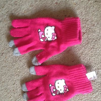 Girls Pink 'Hello Kitty' Touch Screen Gloves. Age 8-12 Years.