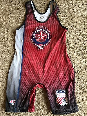 BRUTE Pennsylvania Red / Gray Competition Wrestling Singlet Adult Large