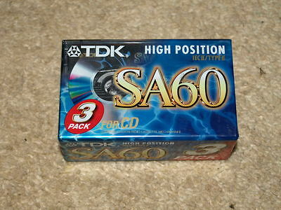 TDK SA60 Type II Blank Audio Cassette Tapes x 3. New Sealed.