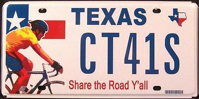 """TEXAS """" SHARE THE ROAD - BICYCLE """" TX Graphic License Plate"""