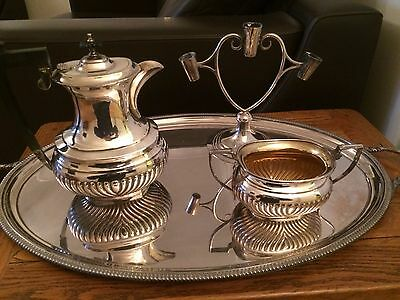 Antique Silver Plated Large Oval tray, Teapot, Bowl & Candlestick Holder