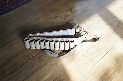 Ancienne Cartouchiere Chasse - Cuir - Calibre 12 - 20 Cartouches