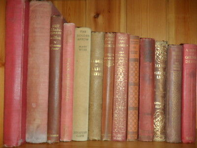 Job Lot of 13 Red/Brown Antique Books
