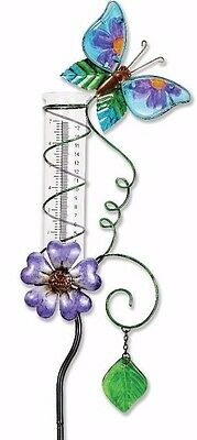 "40"" Butterfly Rain Gauge Stake Metal Glass Sun Catcher Yard Garden Art Jewelry"