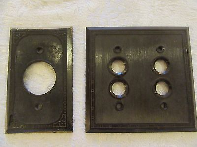 Push Button Light Switch Plate Brown Bakelite Art Deco Ribbed