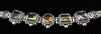 """Bali Sterling Silver Toggle Bracelet with Amethyst, Peridot and Citrine - 7.25"""""""