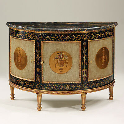 51.5''L Stunning Italian Neoclassic Style Demilune Cabinet w/Black Marble Top