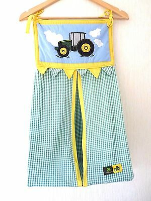 JOHN DEERE Baby Nappy Stacker Green Gingham with Tractor Logo SUPERB