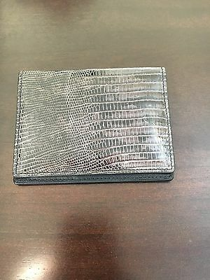 New Tom Ford Mens Gray Lizard Bi Fold Card Holder Wallet 100% Authentic