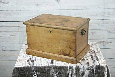 Small Antique Waxed Pine Rectangular Lidded Storage Box, Chest, Trunk + Handles