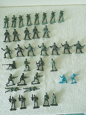 36 x Plastic Toy Soldiers 2.25 inches - Green and Blue - Excellent Condition