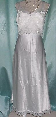 Vintage Long Nightie Slip Soft Silky Sassy White Satin With Lace Detail 14UK 39""