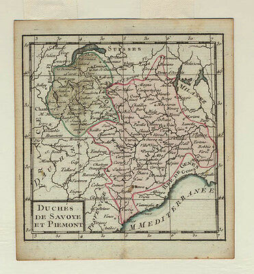 Desnos, Antique colored 1770 map, Savoy & Piedmont, France & Italy